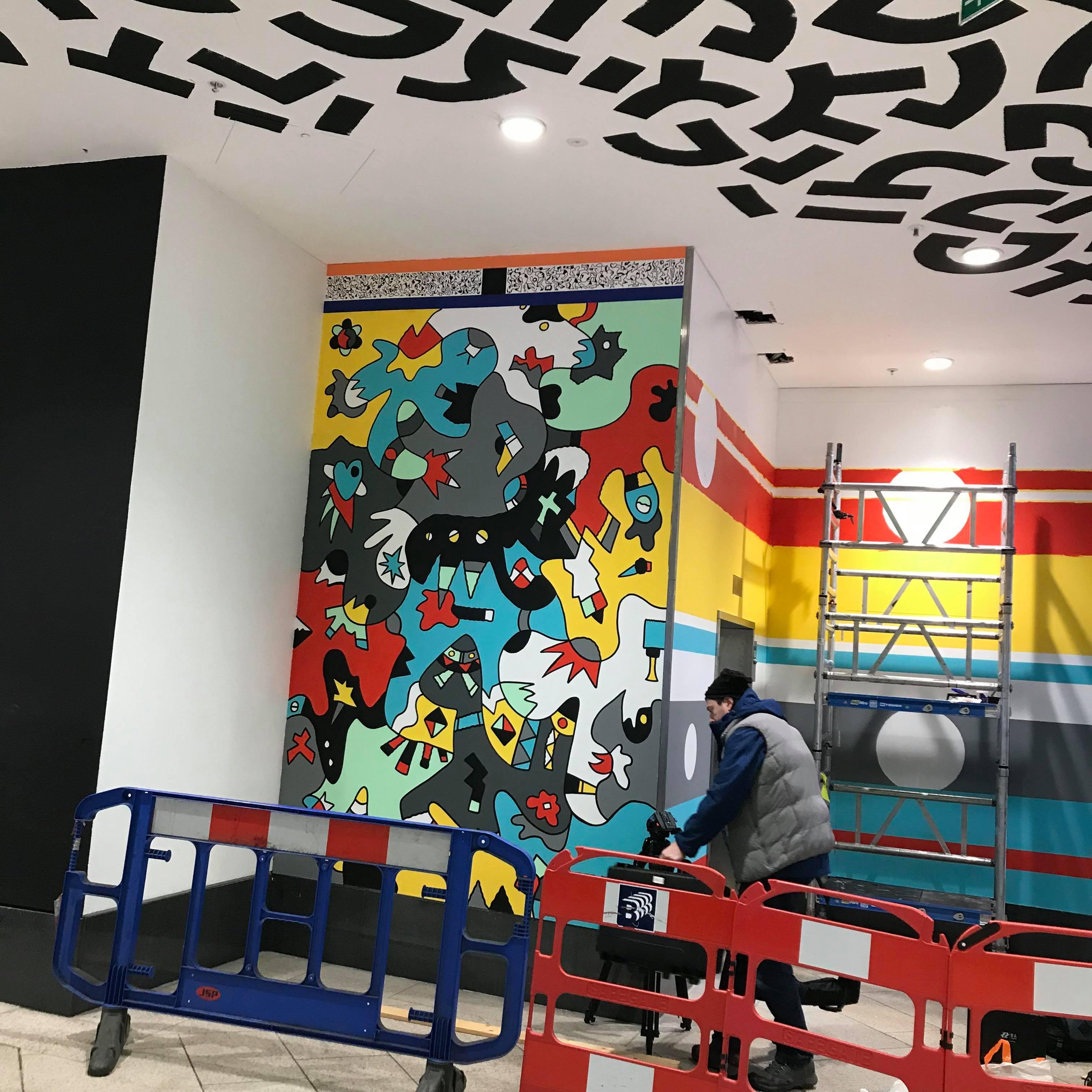 Nicolas Dixon artist mural at Leeds Trinity Roya Brehl Blog